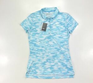 Nike Victory Print Women Light Blue Dri Fit Golf Polo Short Sleeve Shirt $29.99