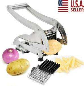 Stainless Steel French Fry Vegetable Potato Cutter Chopper Dicer Slicer 2 Blades