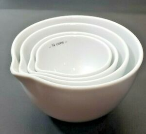 Martha Stewart Collection Set of 4 White Ceramic Measuring Cup Nesting Bowls NEW