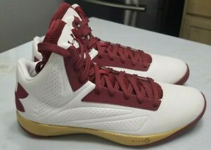 NEW Under Armour TB Micro G Torch Men's Basketball Shoe Size 13.5 White, Maroon $45.00