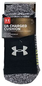 Under Armour Mens UA Charged Cushion Crew Socks Size Large 9 12.5 Black Gray New $10.36