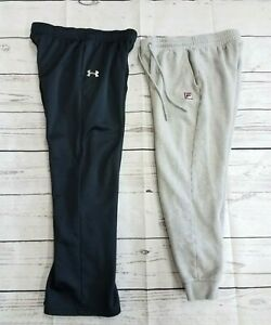 Lot Of 2 Under Armour Fila Athletic Pants Boys Youth XL Black Gray Joggers Track $19.70