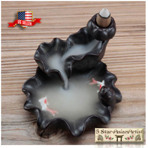 Ceramic Backflow Cone Incense Burner Lotus Waterfall & FishYK021 & 10 Cones Gift