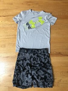 Boys Under Armour Cargo Shorts And T Shirt Size Medium Camo Gray Lot of 2 $15.00