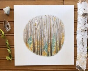 Forest Woodland Tree Aspen Birch Oak Watercolor Painting Original Whimsical Art