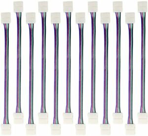Hitlights 5050 RGB LED Strip Connector 10mm 4Pin Quick Connection Adapter 12Pack