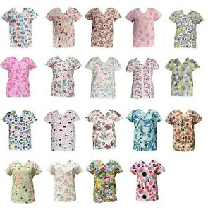 Zikit Women#x27;s Fashion Medical Nursing Scrub Printed Tops XS 3XL