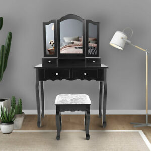 Bedroom Vanity Makeup Dressing Table Set  W/Stool 4 Drawers & Tri Folding Mirror