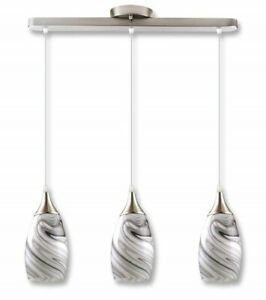 3 Pendant Lighting Kitchen Island Fixture Modern Contemporary Grey White Metal $131.75