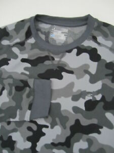 Mens Large Under Armour Coldgear Amplify Camo Thermal black gray crew shirt $29.00