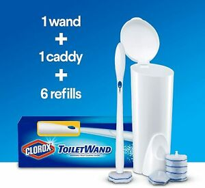 Clorox Toilet Wand Toilet Cleaning Kit - 1 Caddy + 1 Wand + 6 Refills