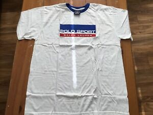 NEW SEALED RALPH LAUREN POLO SPORT WHITE SHIRT VINTAGE ONE SIZE RED WHITE BLUE $19.99
