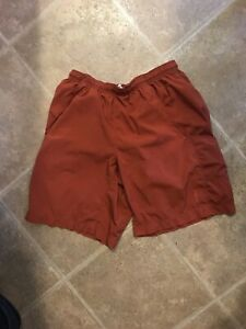 PATAGONIA Mens Ultra Running Shorts Size S Orange Lined Athletic Polyester $25.00