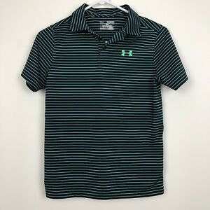 Under Armour Boy's Heat Gear Loose Green Navy Striped Polo Shirt Youth M $16.00
