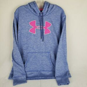 UNDER ARMOUR HOODIE PULLOVER SWEAT SHIRT Womens XL Blue Pink Poly $18.99