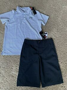 Under Armour boys youth extra large Golf Shorts And Shirt Heat Gear Lot $21.99