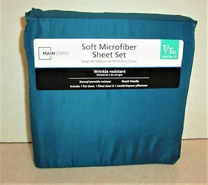 NEW Mainstays 3 Pc. Sheet Set Twin/TXL Sheet Set Teal Blue Polyester Microfiber