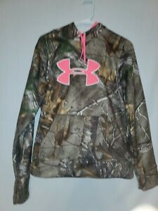 Under Armour Womens Medium Realtree Camouflage Hoodie Hot Pink Logo $14.45