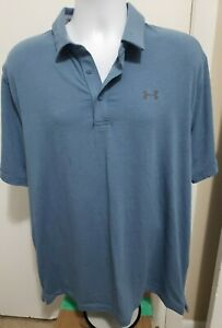 Under Armour Mens Loose Heat Gear Golf Polo Size XL light Blue $10.21