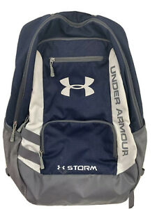 Under Armour Navy Blue Gray Storm Padded Backpack Book Laptop Bag. Free Ship! $39.97