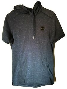 Under Armour Terry Short Sleeve Hoodie Sweatshirt Navy 1347282 408 Size Small $32.99