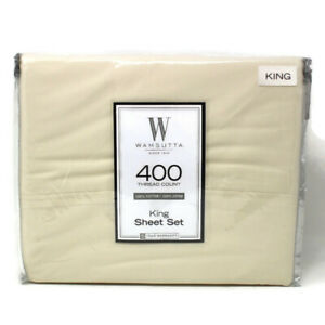 🔴 NEW 3pc WAMSUTTA Ivory KING 400 Thread Count - FLAT Sheet & 2 Pillow Cases