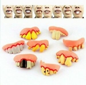 5Pcs Funny Novelty Ugly Fake Teeth Prop Trick Gift  Style  Randomly