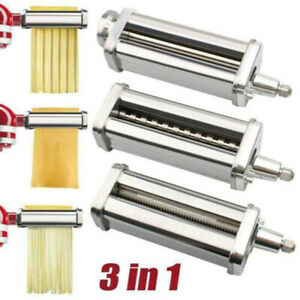 US Stainless Steel Pasta Roller Cutter Set Attachment for KitchenAid Stand Mixer