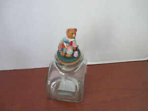 Glass TEDDY BEAR CHRISTMAS GLASS CANDY JAR