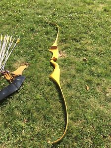 Vintage Herters 75 inch Sitka Unstrung Recurve Year 1968 w. Arm Guard Arrows