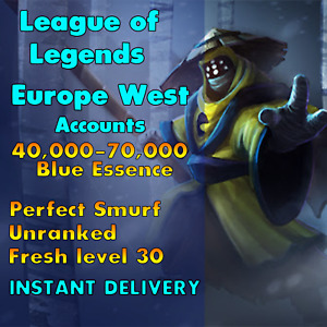 EUW 40 100k BE League of Legends Unranked Account EUW SMURF LoL Unverified $3.29