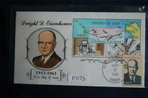 AMERIPEX 86 Presidents Dwight Eisenhower FDC Handpainted Collins#F1133 Sc#2219f