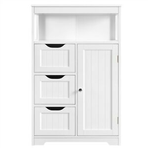 Bathroom Floor Cabinet Storage Organizer w 3 Drawers and 1 Door Stoarge Shelf