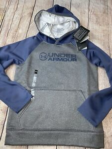 Under Armour Youth Small 8 Gray Blue Hoodie Hooded Sweatshirt NEW $24.99