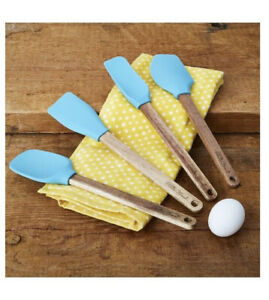 Pioneer Woman Silicone Spatula Set with Acacia Wood Handles 4 pc Blue