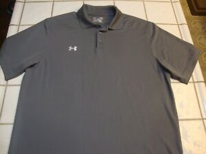 Under Armour Golf Polo Shirt Gray Poly Spandex Loose Short Sleeve Mens Size XL $19.99