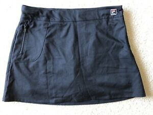Fila Sport Black Skort Skirt Shorts Under Women's Size 14 Tennis Skirt Side Zip $10.00