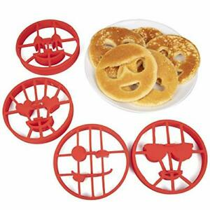 Emoji Pancake Molds and Egg Rings (4 Pack) for Kids AND Adults - Reusable