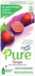 CRYSTAL LIGHT PURE GRAPE Powdered DRINK (7 Packets x 2 Boxes) ON-THE-GO Singles