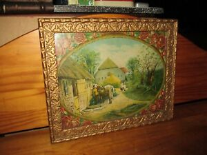 Antique The Farmyard Chromolithograph Print Mid 1800s w Gold Colored Frame $40.00