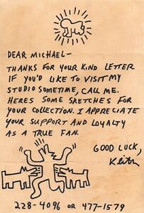 Signed Keith Haring Letter W Original Drawings amp; COA Banksy Choose Weapons GBP 18500.00