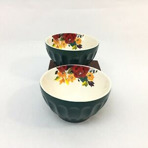 Pioneer Woman Latte Bowl Stoneware Ocean Teal Floral Set of Two Cereal Soup Bowl