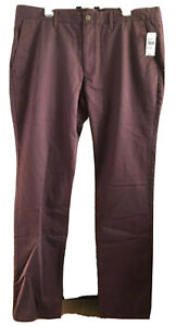 Bonobos Mens Slim Fit Flat Front Burgundy Chino Pants Sz 40 x 36 New With Tags $49.89