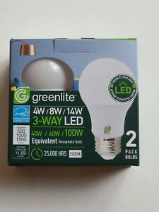 2x LED Bulb 3 Way 40 60 100W Replacement 4W 8W 14W LED Greenlite BRAND NEW