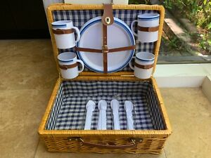 Wicker Picnic Basket Set for 4 with Plastic Plates Cups Utensils