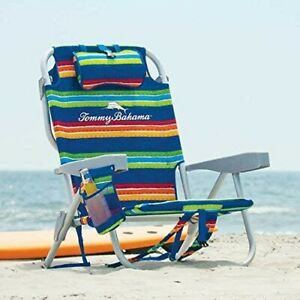TOMMY BAHAMA BEACH CHAIR BACKPACK GREEN RAINBOW STRIPES COOLER TOWEL POUCH NEW