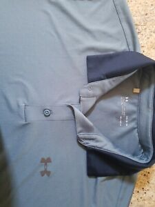 Under Armour Men's Loose Fit Heat Gear Golf Polo Size Large Blue $19.00