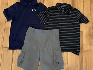 Under Armour Youth Medium M Golf Shorts & Polo Shirts 3 Pcs Lot New Condition. $21.99