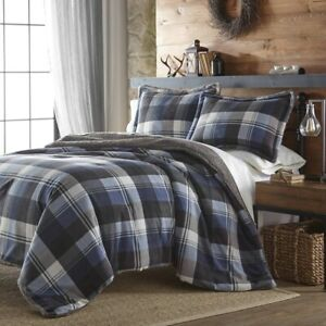New Cottage Cabin Blue Flannel Plaid Grey Warm Sherpa 3 pcs King Queen Comforter