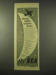 1954 BEA Airline Ad Cheap Night Tourist Fares